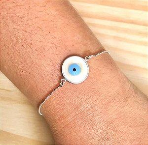 Pulseira Olho Grego Redonda Prata 925