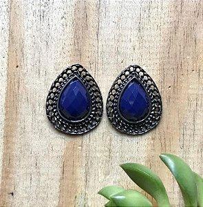 Brinco Boho Pedra Acrílica Azul Bic Prata Envelhecida