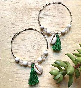 Brinco Argola c/ Tassel Verde Ródio Branco