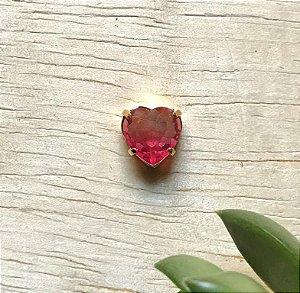 Pingente Coração Rosa Transparente Dourado