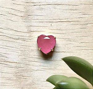 Pingente Coração Rosa Fusion Dourado