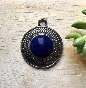 Pingente Pedra Acrílica Azul Prata Envelhecida