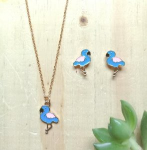 Conjunto Flamingo Azul Dourado