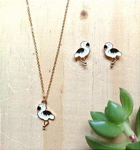 Conjunto Flamingo Branco e Preto Dourado