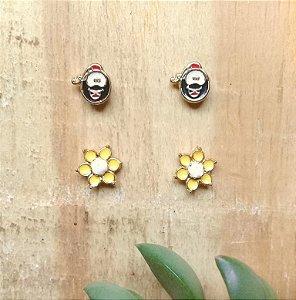 Kit Brincos Smilinguido e Flor Dourado