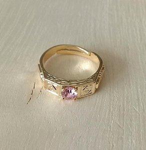 Anel Infantil de Formatura Pedra Rosa Dourado