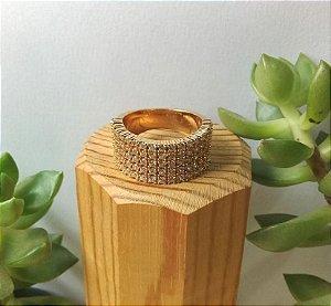 Anel c/ Zircônias Dourado