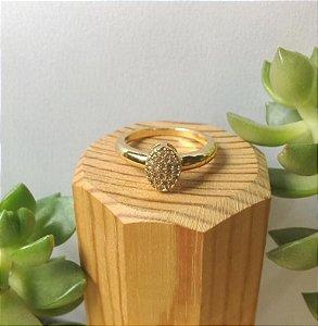 Anel Solitário Cristal Dourado
