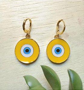 Brinco Argola c/ Olho Grego Amarelo Dourado