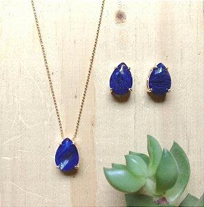 Conjunto Gota Azul Marinho Dourado
