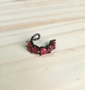 Piercing Fake Rubi Rosa Fusion Ródio Negro