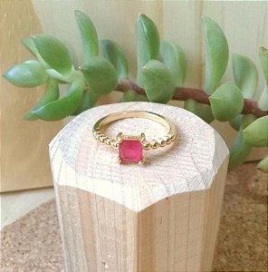 Anel Quadrado Rubi Rosa Dourado