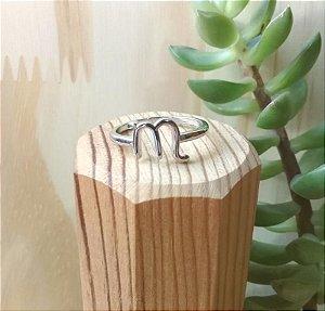 Anel Signo Escorpião Ródio Branco