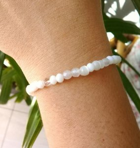Pulseira Pedra Natural Quartzo Branco Mesclado