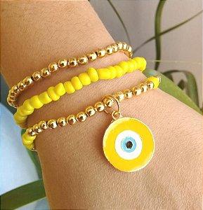Mix de Pulseiras Olho Grego Cor Amarelo Dourado