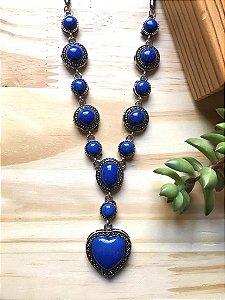 Colar Coração Pedra Azul Bic Prata Envelhecida