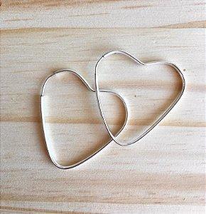 Brinco Argola de Coração Médio Prata 925
