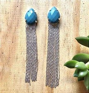 Brinco Franja c/ Pedra Sintética Azul Prata