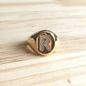 """Anel Inicial """"R"""" Dourado"""