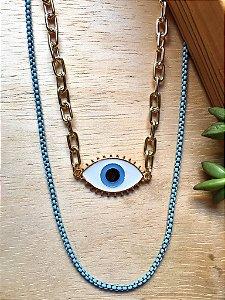 Colar Duplo Azul c/ Olho Grego Dourado
