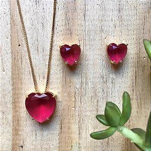 Conjunto Coração Rubi Rosa Dourado