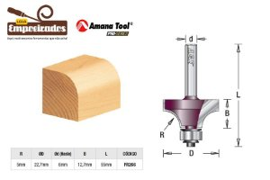 Fresa AGE™ Pro-Series Amana Tool - Arredondar com Rolamento - R-5mm [FR266]