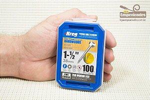 """Parafuso Kreg Rosca Fina- 1.1/2"""" - 38mm - Cabeça Panela [SPS-F150-100]"""