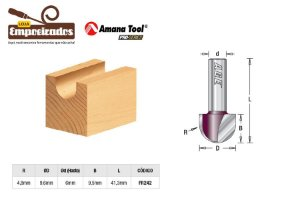 Fresa AGE™ Pro-Series Amana Tool - Meia Cana - Raio 4,8mm [FR242]
