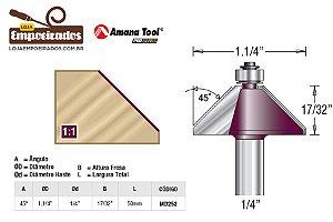 """Fresa para Chanfrar com Rolamento 45° Haste 1/4"""" AGE™ Pro-Series Amana Tool [MD252]"""