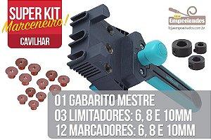 Kit Marceneiro Cavilhar Standard: Gabarito Wolfcraft + 3 limitadores + 12 Marcadores de 6, 8 e 10mm
