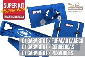 Kit Marceneiro Gabaritos Kreg Essenciais: Dobradiça Caneco + Corrediça + Puxadores