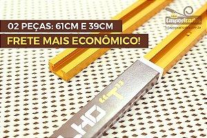 Trilho T-Track em Alumínio Soster & Causo - Combo 2 peças: 61 e 39cm