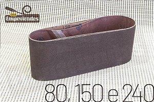 Kit de Lixas de Cinta para Lixadeira Manrod MR-41417 - Grãos 80, 150 e 240 - 3 lixas