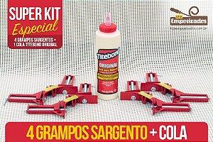 Kit Moldura - 4 grampos tipo sargento + Cola Titebond Original 473ml