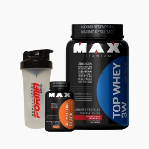 Top Whey 3W (900g) + Ultimate Fire Black (60caps) + Shaker Forma