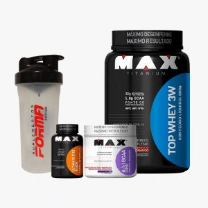 Top Whey 900g + Bcaa Drink 280g + Fire Black 60caps + Shaker Forma - Max Titanium
