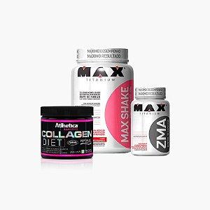 Max Shake (400g) + Ella Colagen Diet (200g) + ZMA (90caps) - Max Titanium