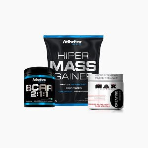 Hiper Mass Gainer (1kg) + BCAA 2:1:1 (210g) + C Max (150g) - Atlhetica Nutrition