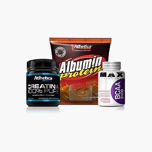 Albumin Protein (500g) + Creatina Pro Series (100g) + Bcaa 2400 (100 caps) - Atlhetica Nutrition