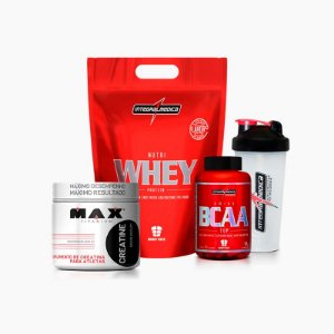 Nutri Whey (1,8kg)+BCAA Top(120caps)+Creatina (150g)+Shaker Grátis- Integral Médica