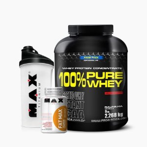 100% Pure Whey (2268g) + Fat Max (120caps) GRÁTIS COQUETELEIRA MAX - Probiótica