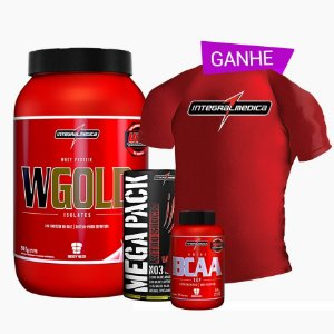 Wgold 900g + Bcaa Fix 300g + Mega pack 22 Packs + Camisa Dry Fit - Integral