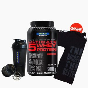 Ultimate 5W Whey Protein (900g) Grátis Shaker + Camisa - Probiótica