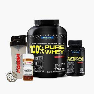 Pure Whey(2,3kg) + Amino Power(60caps) + Alpha Axcel(30caps) + Shaker Forma - Probiótica