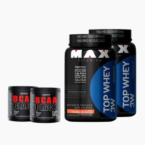 2x Top Whey 3w (900g) + 2x Bcaa Black (200g) - Max Titanium