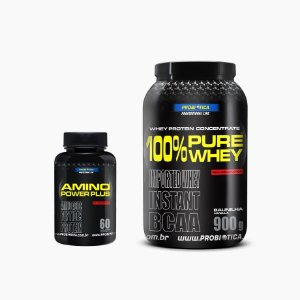 100% Pure Whey (900g) - GRÁTIS Amino Power Plus (60caps) - Probiótica