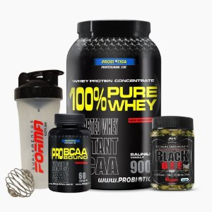 Pure Whey 900g + Black Bee + Bcaa Pro Bound + Shaker Forma - Probiótica