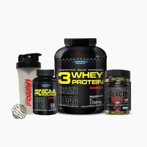Whey Protein 3w 2kg + Black Bee + Bcaa Pro Bound + Shaker Forma - Probiótica