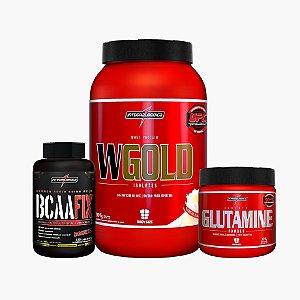 Wgold (907g) + Glutamina (300g) + Bcaa Fix (120caps) + Camisa - Integral Médica