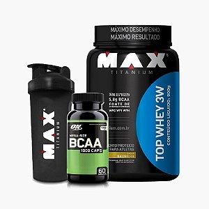 Top Whey 900g + Bcaa Optimum 60 caps + Coqueteleira - Max Titanium